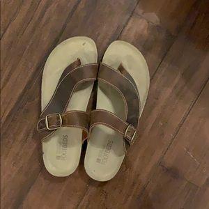 White Mountain footbed sandal leather women's sz10